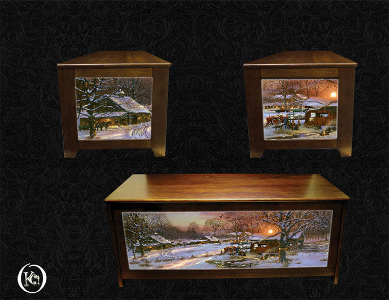 Blanket chest with Dave Barnhouse art