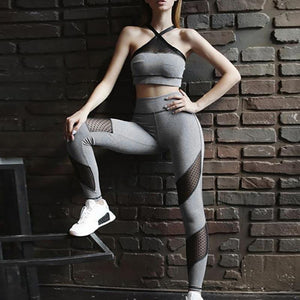 Set de Leggings+Top deportivo con paneles de plumeti WORKDAY - luxury-leggings