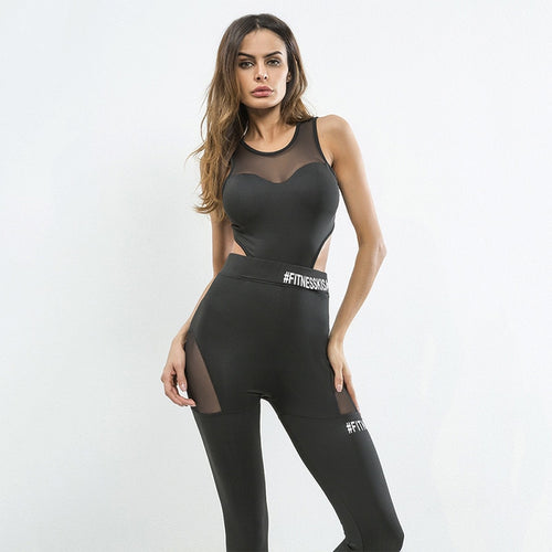 Mono negro para gym con paneles traslucidos  EARTHCORE - luxury-leggings