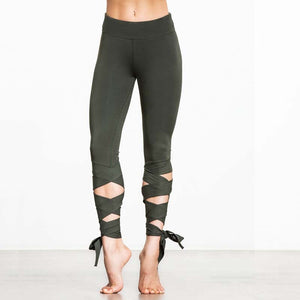 Legging cropped con cintas para Yoga NUNCHI - luxury-leggings