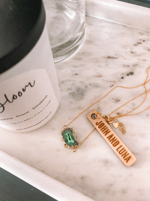 Green Druzy Necklace with Candle