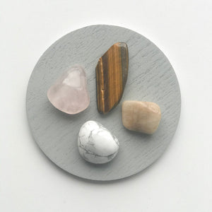 Moonstone, tigers eye, howlite, rose quartz crystals