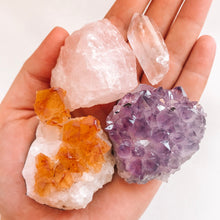 Load image into Gallery viewer, Crystal Starter Kit: Amethyst cluster, Citrine cluster, rough rose quartz and a clear quartz