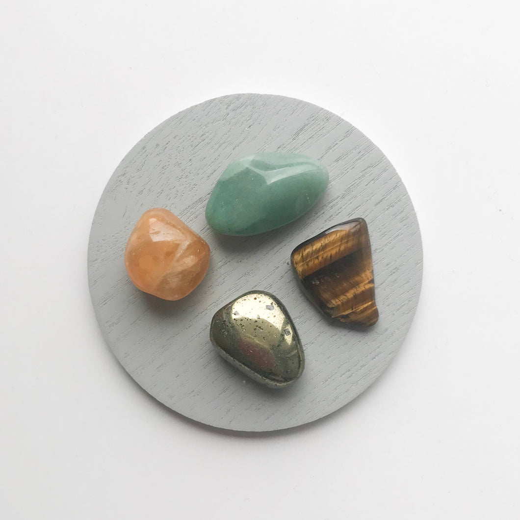 Tigers eye, pyrite, citrine, green aventurine crystal