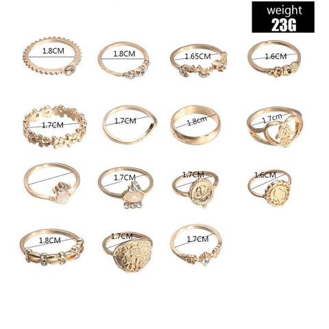 15 Pieces Ring Set