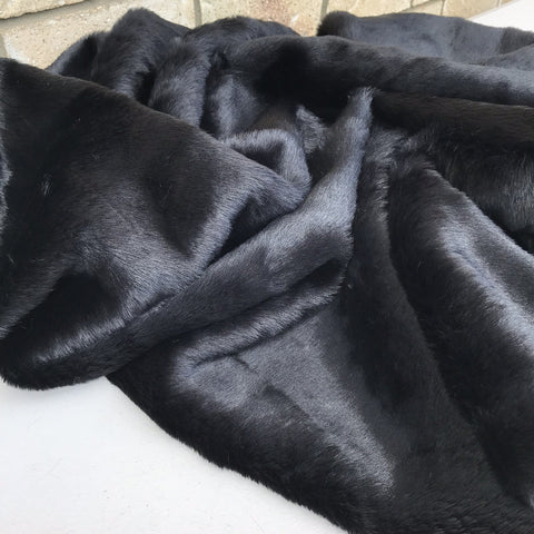 18mm Black - Straight Pile Faux Fur