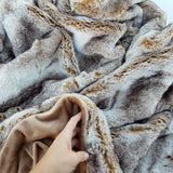 Jersey Caramel Blanket - luxury soft faux fur throw