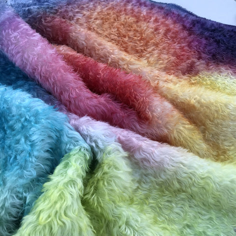 Crimped Mohair/Viscose - Hand Dyed by Chelsea Rainbow Abstract - Odd sized 1/4m - AUG028