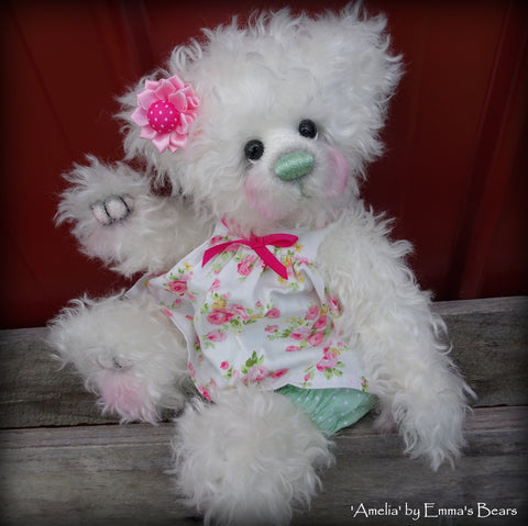 "Amelia - 12"" curly kid mohair artist bear by Emma's Bears  - OOAK"