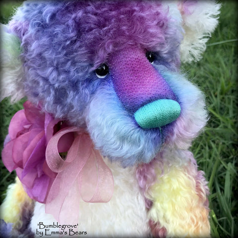 "Bumblegrove - 17"" Rainbow Kid Mohair Artist Bear by Emma's Bears - OOAK"