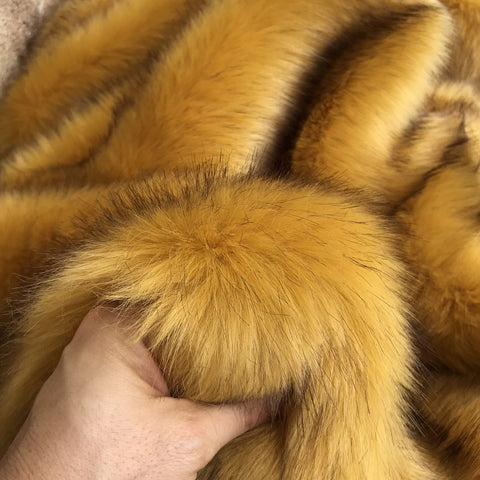 Burnt Mustard - Dense Tipped Faux Fur