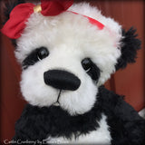 "Caitlin Cranberry - 18"" KID MOHAIR Artist toddler style Panda Bear by Emma's Bears - OOAK"
