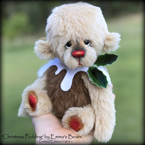 Christmas Pudding L/E 1 of 4 - Handmade ALPACA artist bear by Emma's Bears