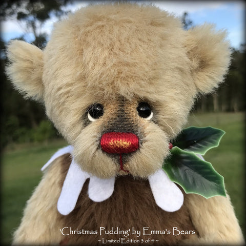 Christmas Pudding L/E 3 of 4 - Handmade ALPACA artist bear by Emma's Bears