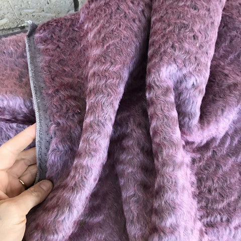 Elderberry - dense wavy crimped mohair/viscose blend fur - VERY LIMITED STOCK