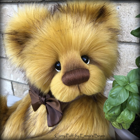 "Curry Puff - 21"" faux fur bear by Emmas Bears - OOAK"
