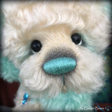 "Waverly - 13"" Hand dyed turquoise Butterfly Bear by Emma's Bears - OOAK"