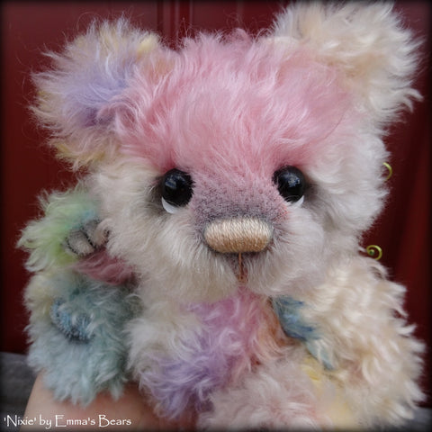 Nixie - 9IN hand dyed kid mohair bear by Emmas Bears - OOAK