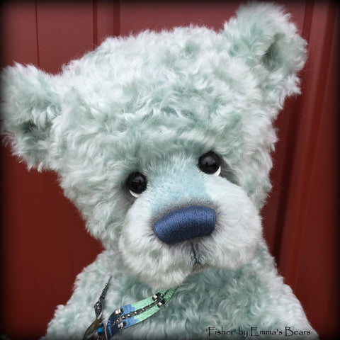 Fisher - 22IN hand dyed super curls mohair bear by Emmas Bears - OOAK