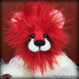"Flame - 12"" red and white mohair lion bear by Emmas Bears - OOAK"