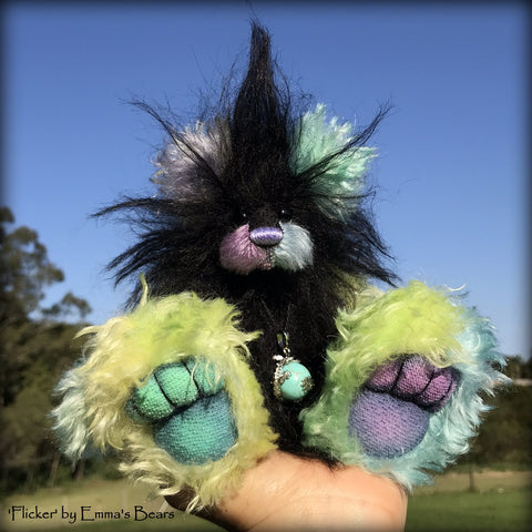 "Flicker - 8"" Rainbow and Black Mohair Artist Bear by Emma's Bears - OOAK"