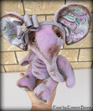 Fuss - 11in hand dyed shabby lilac mohair elephant by Emmas Bears
