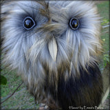 Havoc - 14in faux fur Artist OWL Bear by Emmas Bears - OOAK