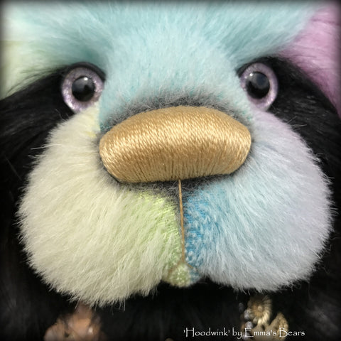 "Hoodwink - 19"" rainbow alpaca and faux fur artist bear by Emma's Bears  - OOAK"