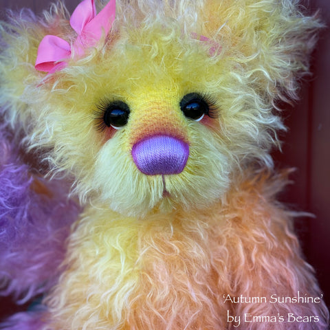 "Autumn Sunshine - 18"" Hand-Dyed Mohair Artist Baby Bear by Emma's Bears - OOAK"