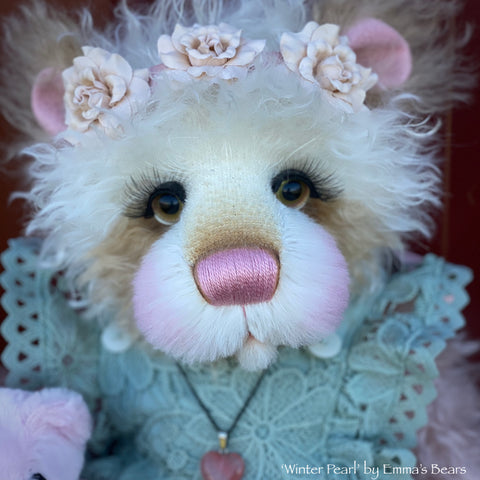 "Winter Pearl - 18"" Hand-Dyed Mohair Artist Baby Bear by Emma's Bears - OOAK"