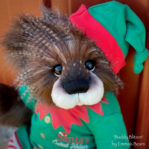"Buddy Blitzen - 18"" Christmas 2020 FAUX FUR Artist toddler style Bear by Emma's Bears - OOAK"