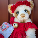 "Poinsettia Faith - 18"" Christmas 2020 MOHAIR Artist toddler style Bear by Emma's Bears - OOAK"
