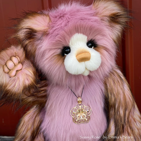 "Sassy Rose - 21"" Faux Fur Artist Bear by Emma's Bears - OOAK"