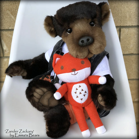 Zander Zackary - 21in TISSAVEL faux fur Artist toddler style Bear by Emmas Bears - OOAK