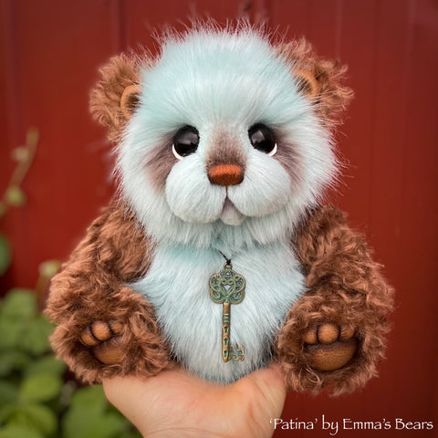 "Patina - 9"" mohair and faux fur bear by Emmas Bears - OOAK"