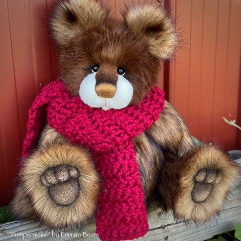 "Pumpernickel - 17"" faux fur bear by Emmas Bears - OOAK"