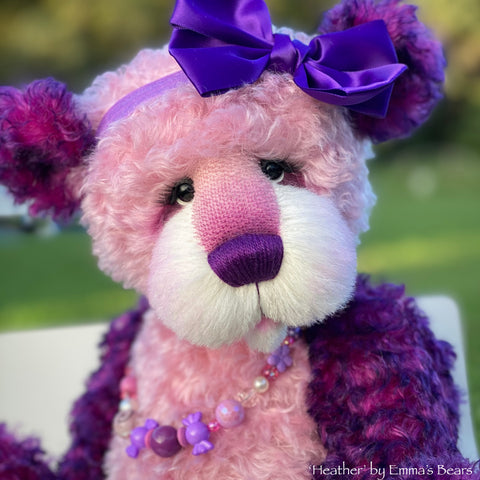 "Heather - 17"" curly kid mohair bear by Emmas Bears - OOAK"