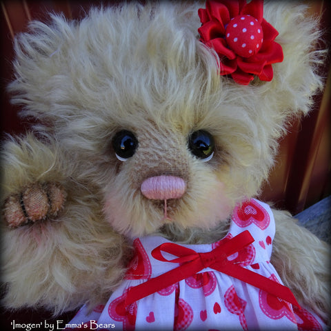 "Imogen - 12"" curly kid mohair artist bear by Emma's Bears  - OOAK"