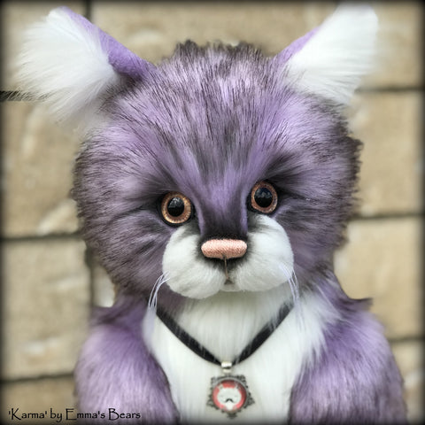 "Karma - 13"" soft sculpture faux fur cat by Emmas Bears - OOAK"