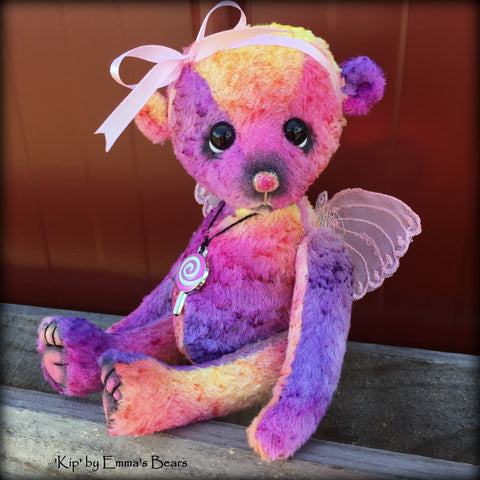 Kip - 9in hand-dyed rainbow viscose Artist Bear by Emmas Bears