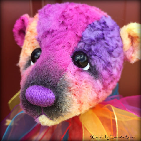 Krispin - 10in hand-dyed rainbow viscose Artist Bear by Emmas Bears