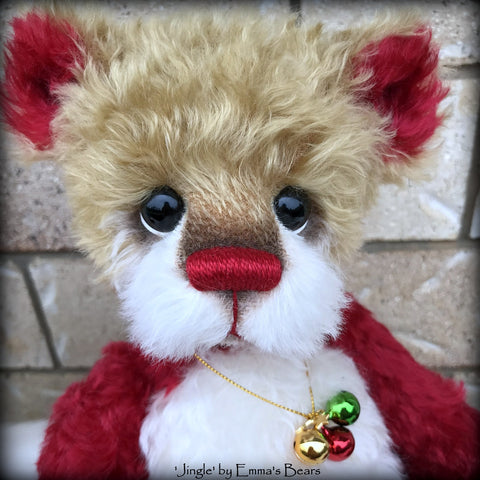 "Jingle - 14"" kid mohair Christmas artist bear by Emmas Bears - OOAK"