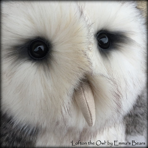 "Lofton the Owl - 14"" lifesize faux fur artist barn owl  - OOAK by Emma's Bears"