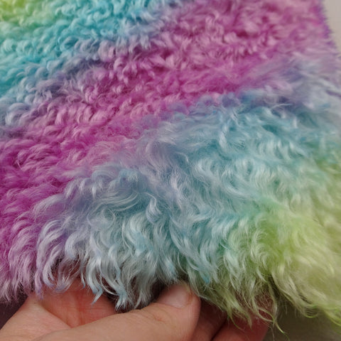 Super Curls Rainbow - Hand Dyed dense mohair - 1/4m - MAY004