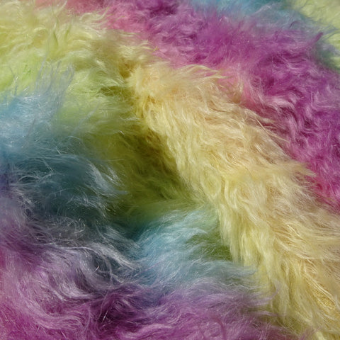 Long Pile Mohair Rainbow - Hand Dyed - 1/4m - MAY021
