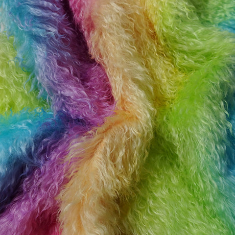 Curlylocks Rainbow - Hand Dyed mohair - 1/4m - MAY028