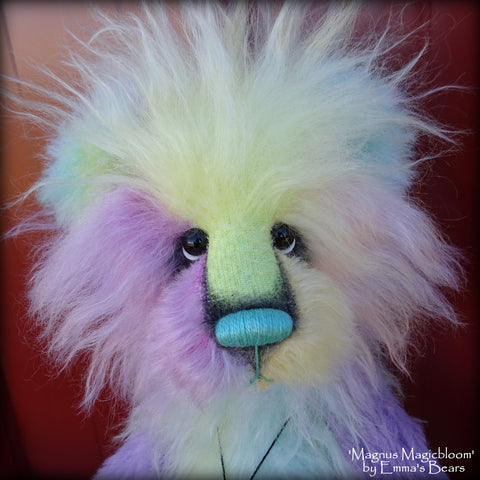 Magnus Magicbloom - 18in Hand-dyed mohair and alpaca Artist Bear by Emmas Bears - OOAK