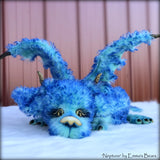 "Neptune Dragon - 37"" kid mohair dragon soft sculpture - OOAK by Emma's Bears"