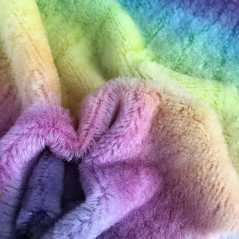 Short Alpaca  - Hand Dyed Rainbow - Fat 1/8m  - OCT021