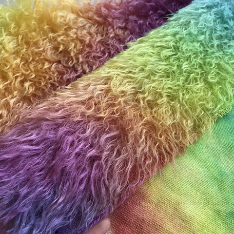 Eddie Long Shaggy Mohair - Hand Dyed Rainbow - Fat 1/4m - OCT146